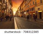 people walking on wall street... | Shutterstock . vector #708312385