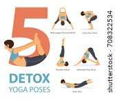 a set of yoga postures female... | Shutterstock .eps vector #708322534