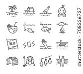 island survival line icon set.... | Shutterstock .eps vector #708326737