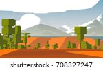 cartoon landscape. rural area.... | Shutterstock . vector #708327247