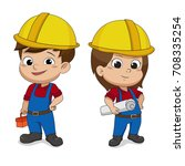 set of cartoon engineers.vector ... | Shutterstock .eps vector #708335254