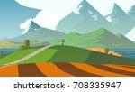 cartoon landscape. rural area.... | Shutterstock . vector #708335947