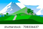 cartoon landscape. rural area.... | Shutterstock . vector #708336637