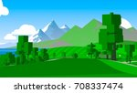cartoon landscape. rural area.... | Shutterstock . vector #708337474