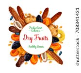dried fruits or dry fruit... | Shutterstock .eps vector #708341431