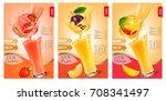set of labels of of fruit in... | Shutterstock .eps vector #708341497