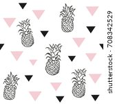 pineapples and triangles.... | Shutterstock .eps vector #708342529
