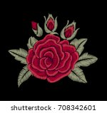chic red rose. embroidered... | Shutterstock .eps vector #708342601