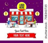 night restaurant  muslim... | Shutterstock .eps vector #708343735