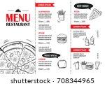 fast food menu design template. ... | Shutterstock .eps vector #708344965