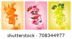 set of labels of of fruit in... | Shutterstock .eps vector #708344977