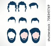 hipster vector set  hair and... | Shutterstock .eps vector #708345769
