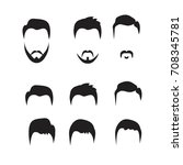 hipster vector set  hair and... | Shutterstock .eps vector #708345781