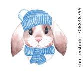cute rabbit in blue hat....   Shutterstock . vector #708348799