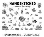hand drawn sketch collection.... | Shutterstock .eps vector #708349261