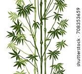 green bamboo seamless vertical... | Shutterstock .eps vector #708353659