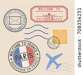 colored set of postmarks and... | Shutterstock .eps vector #708356251