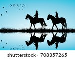 silhouette pf a couple on a... | Shutterstock .eps vector #708357265