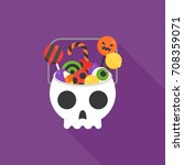 skull bucket filled with sweets ... | Shutterstock .eps vector #708359071