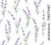 seamless pattern of lavender... | Shutterstock .eps vector #708375487