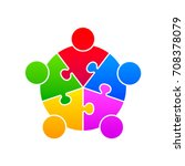 community puzzle union support... | Shutterstock .eps vector #708378079