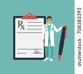 doctor stands near clipboard... | Shutterstock .eps vector #708383395