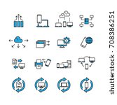 technology and data icons set... | Shutterstock .eps vector #708386251