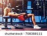 sport girl doing exercise for... | Shutterstock . vector #708388111