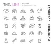 collection of wedding thin line ... | Shutterstock .eps vector #708388195