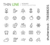 collection of ecology thin line ... | Shutterstock .eps vector #708388201