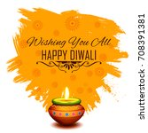 illustration of burning diya on ... | Shutterstock .eps vector #708391381