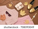 autumn arrives. fashion lady... | Shutterstock . vector #708393049