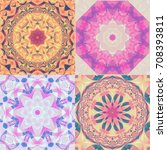 set of abstract kaleidoscope... | Shutterstock . vector #708393811