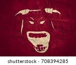 demonic ugly face. devil scream ...   Shutterstock . vector #708394285