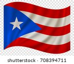 waving flag of puerto rico is a ... | Shutterstock .eps vector #708394711