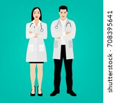 two young doctors in medical... | Shutterstock .eps vector #708395641