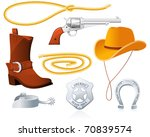 cowboy accessories | Shutterstock .eps vector #70839574