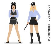 police women in sexy uniform.... | Shutterstock .eps vector #708395779