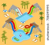 aqua park concept with people... | Shutterstock .eps vector #708395995