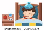 sick cute boy sleep in bed with ... | Shutterstock .eps vector #708403375