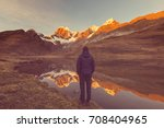 hiking scene in cordillera... | Shutterstock . vector #708404965