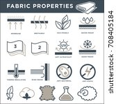 fabric properties signs... | Shutterstock .eps vector #708405184
