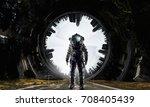 adventure of spaceman. mixed... | Shutterstock . vector #708405439