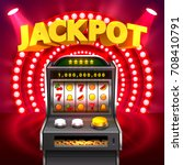 Golden slot machine wins the jackpot. Isolated on red background. Vector illustration - stock vector