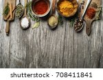 fresh herbs and spices on a... | Shutterstock . vector #708411841