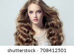 blonde fashion  girl with long  ... | Shutterstock . vector #708412501