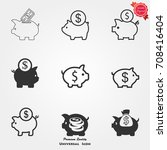piggy bank icons vector | Shutterstock .eps vector #708416404