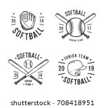hand drawn emblem of softball.... | Shutterstock .eps vector #708418951