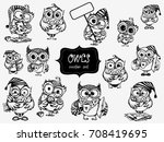 hand drawn sleepy owls  with... | Shutterstock .eps vector #708419695