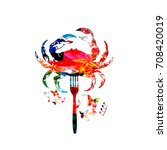 crab  seafood vector... | Shutterstock .eps vector #708420019